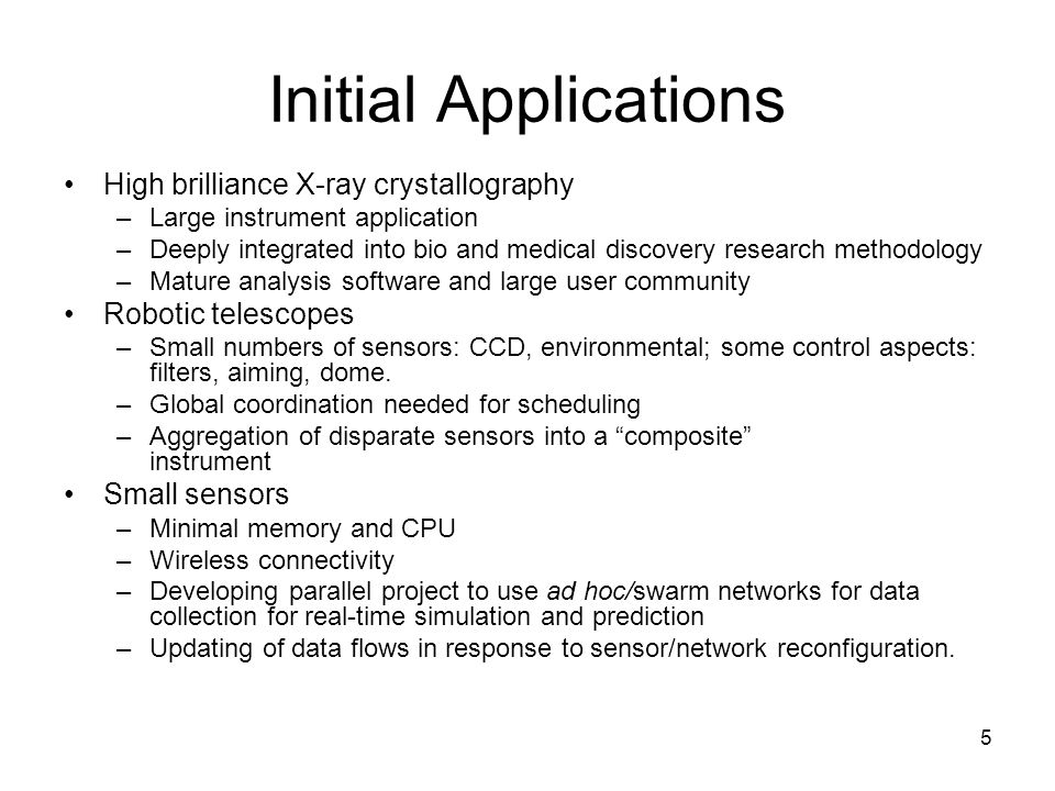 5 Initial Applications High brilliance X-ray crystallography –Large instrument application –Deeply integrated into bio and medical discovery research