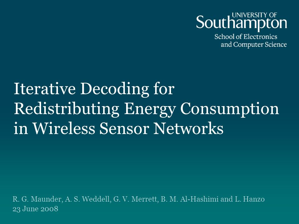 Iterative Decoding for Redistributing Energy Consumption in Wireless Sensor Networks R.