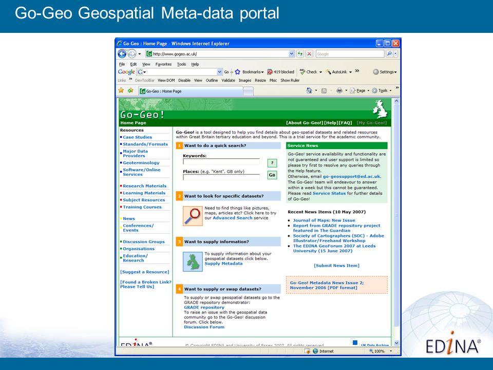 Go-Geo Geospatial Meta-data portal