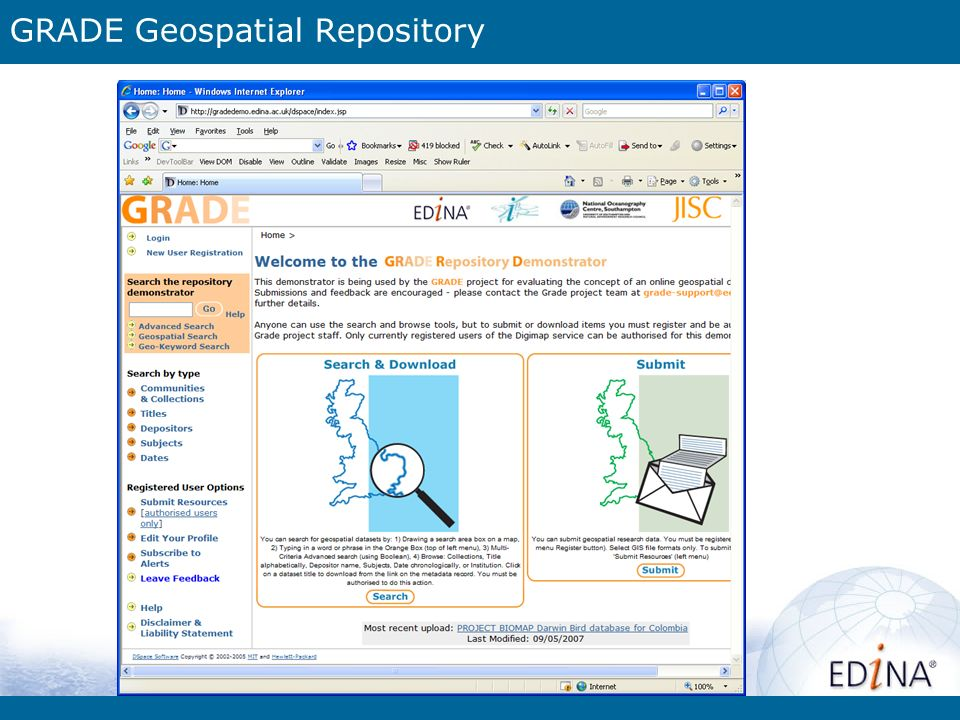 GRADE Geospatial Repository