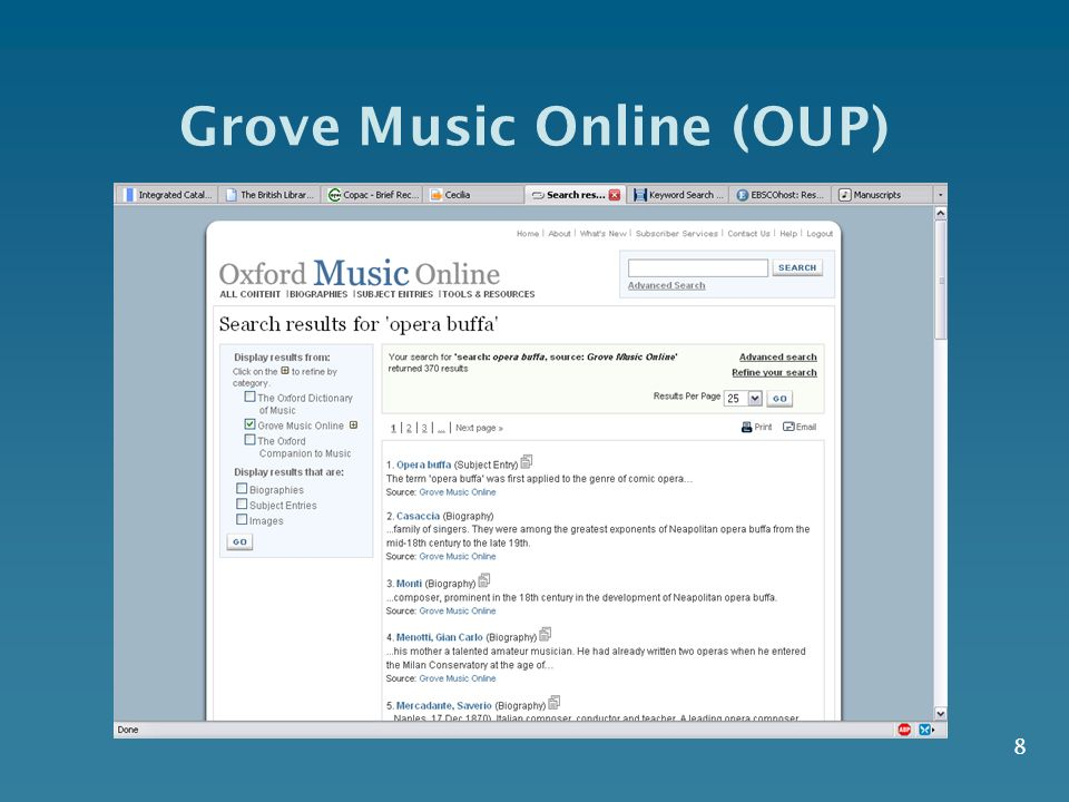 8 Grove Music Online (OUP)