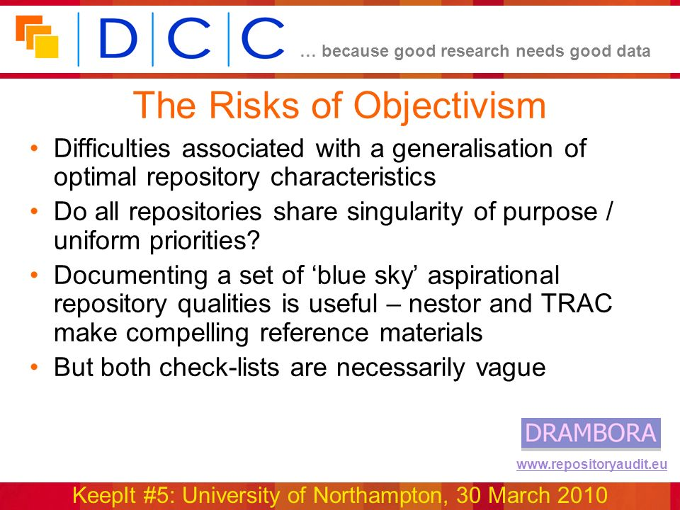 … because good research needs good data KeepIt #5: University of Northampton, 30 March 2010 www.repositoryaudit.eu The Risks of Objectivism Difficulti