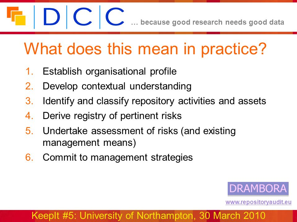 … because good research needs good data KeepIt #5: University of Northampton, 30 March 2010 www.repositoryaudit.eu What does this mean in practice? 1.