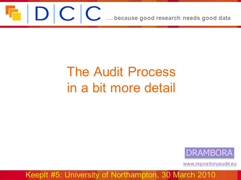 … because good research needs good data KeepIt #5: University of Northampton, 30 March 2010 www.repositoryaudit.eu The Audit Process in a bit more detail