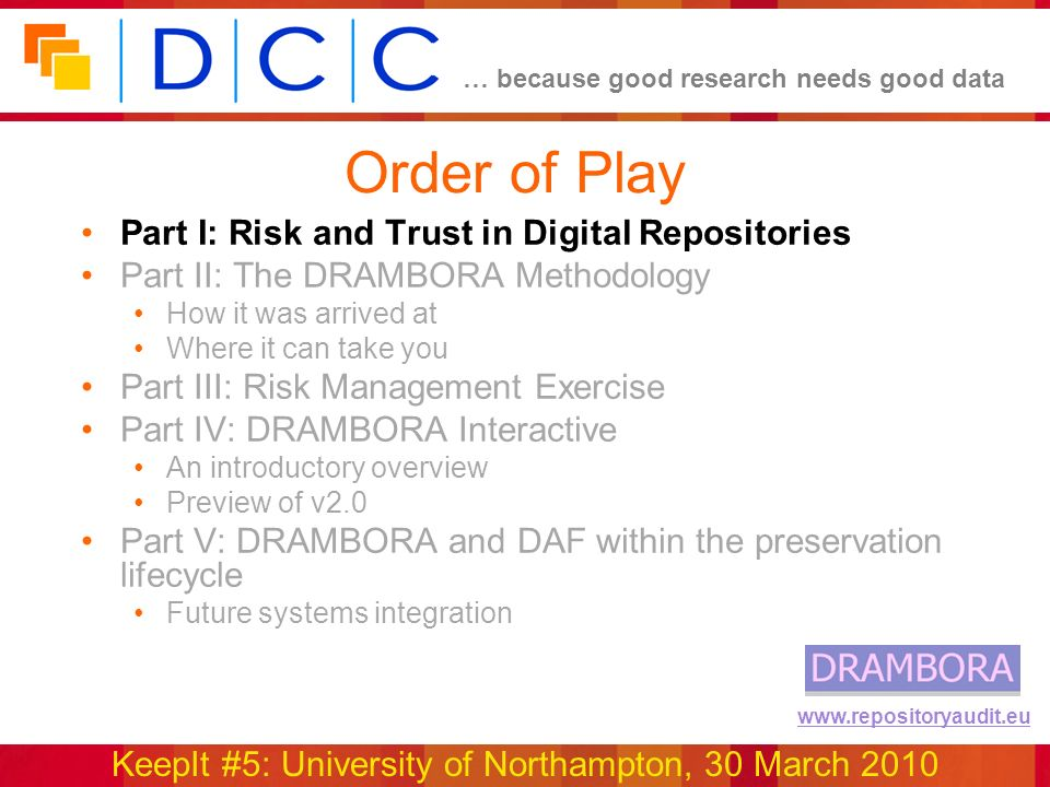 … because good research needs good data KeepIt #5: University of Northampton, 30 March 2010 www.repositoryaudit.eu Order of Play Part I: Risk and Trus