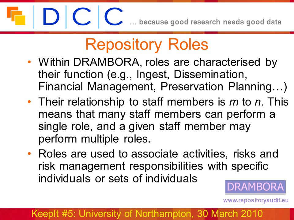… because good research needs good data KeepIt #5: University of Northampton, 30 March 2010 www.repositoryaudit.eu Repository Roles Within DRAMBORA, roles are characterised by their function (e.g., Ingest, Dissemination, Financial Management, Preservation Planning…) Their relationship to staff members is m to n.
