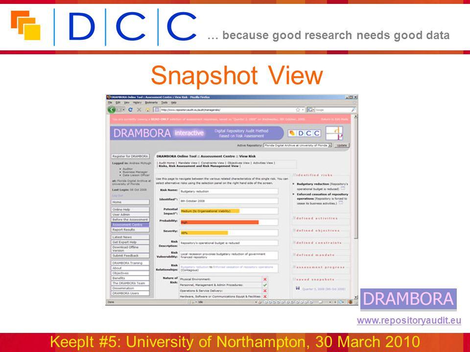 … because good research needs good data KeepIt #5: University of Northampton, 30 March 2010 www.repositoryaudit.eu Snapshot View