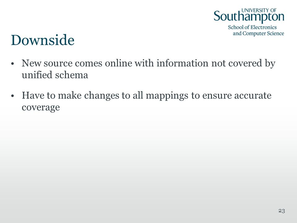 Downside New source comes online with information not covered by unified schema Have to make changes to all mappings to ensure accurate coverage 23