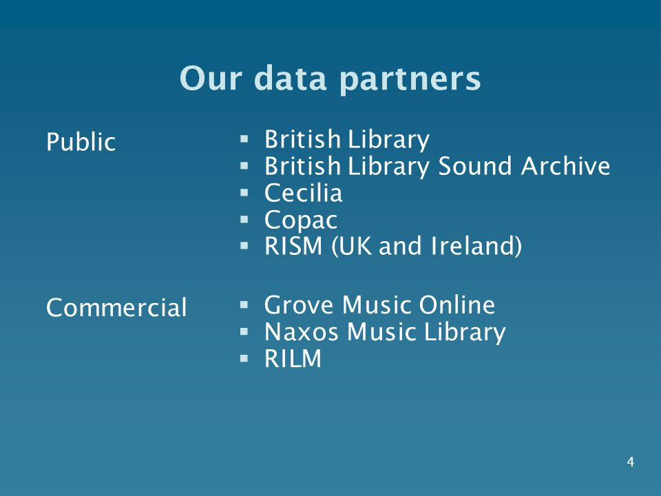 4 Our data partners Public British Library British Library Sound Archive Cecilia Copac RISM (UK and Ireland) Commercial Grove Music Online Naxos Music Library RILM