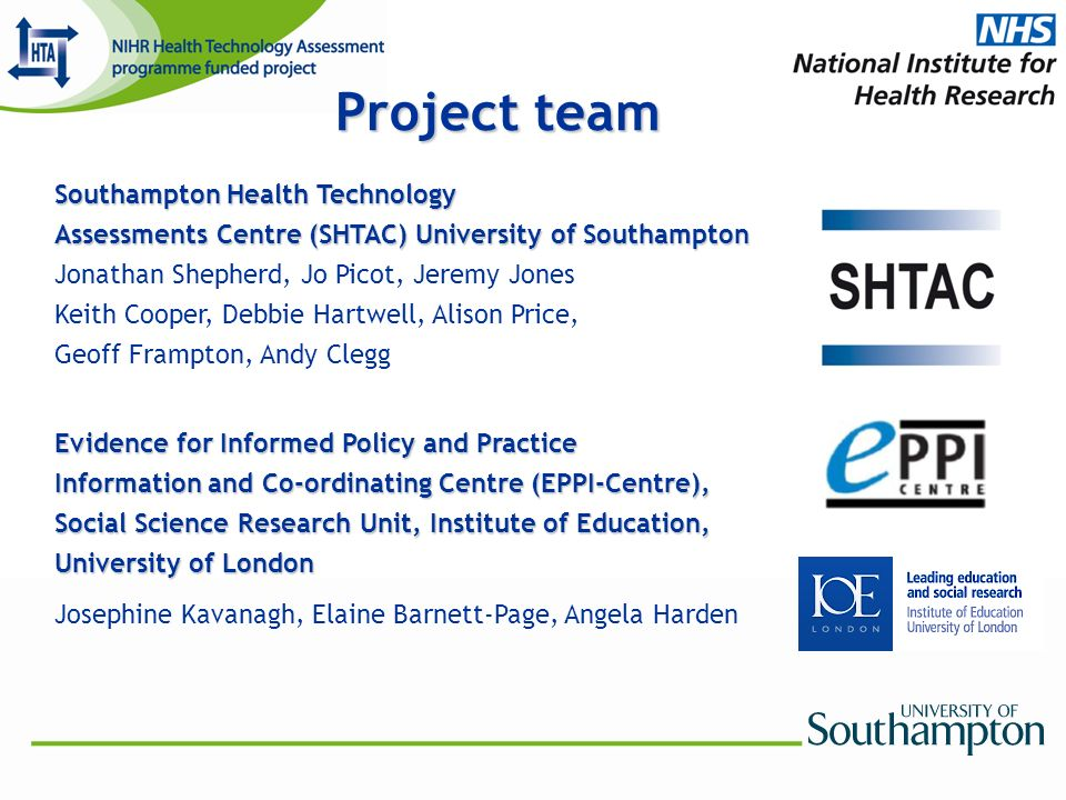 Project team Southampton Health Technology Assessments Centre (SHTAC) University of Southampton Jonathan Shepherd, Jo Picot, Jeremy Jones Keith Cooper, Debbie Hartwell, Alison Price, Geoff Frampton, Andy Clegg Evidence for Informed Policy and Practice Information and Co-ordinating Centre (EPPI-Centre), Social Science Research Unit, Institute of Education, University of London Josephine Kavanagh, Elaine Barnett-Page, Angela Harden