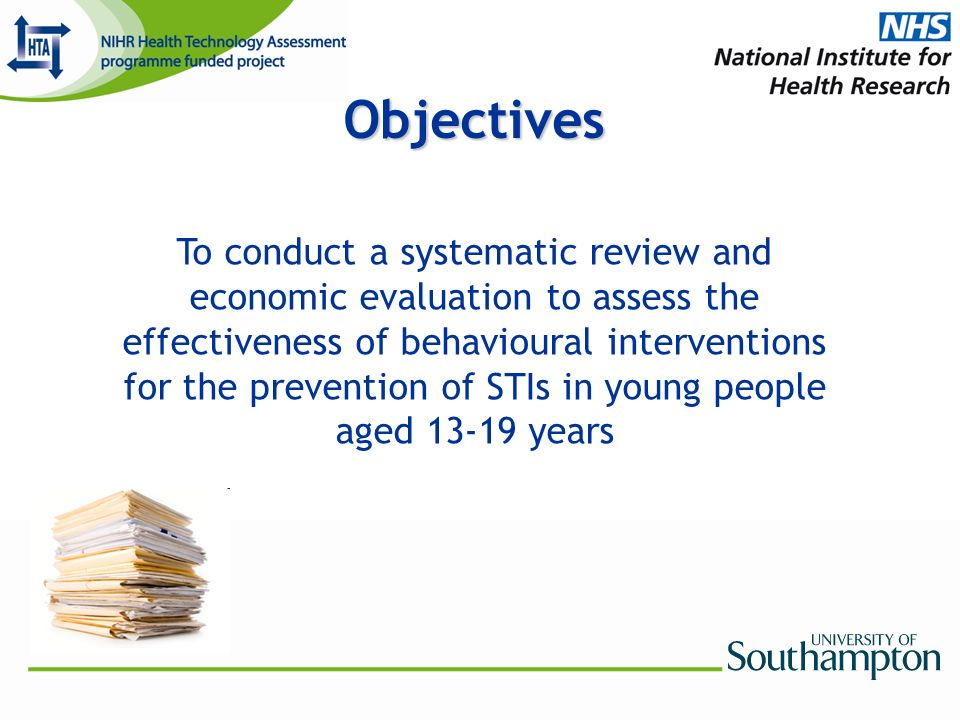 Objectives To conduct a systematic review and economic evaluation to assess the effectiveness of behavioural interventions for the prevention of STIs in young people aged 13-19 years