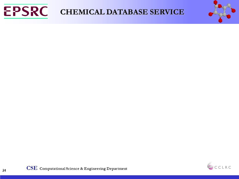 CSE Computational Science & Engineering Department CHEMICAL DATABASE SERVICE 24