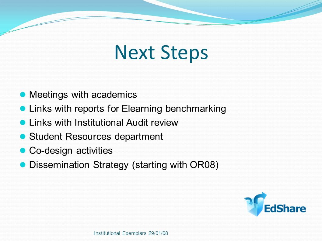 Next Steps Meetings with academics Links with reports for Elearning benchmarking Links with Institutional Audit review Student Resources department Co