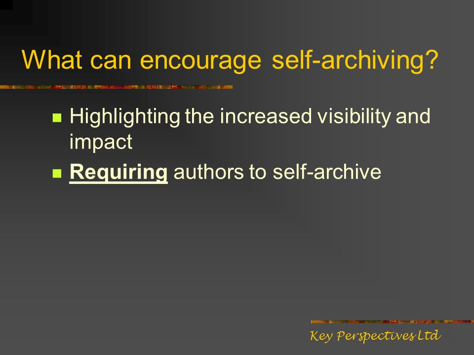 What can encourage self-archiving.