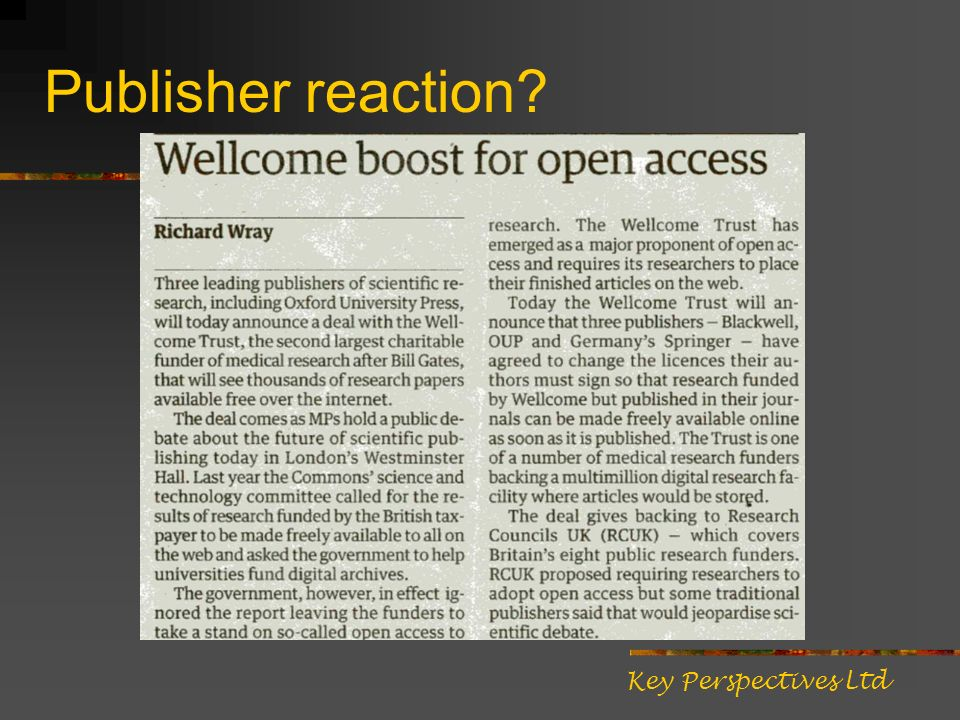Publisher reaction? Key Perspectives Ltd