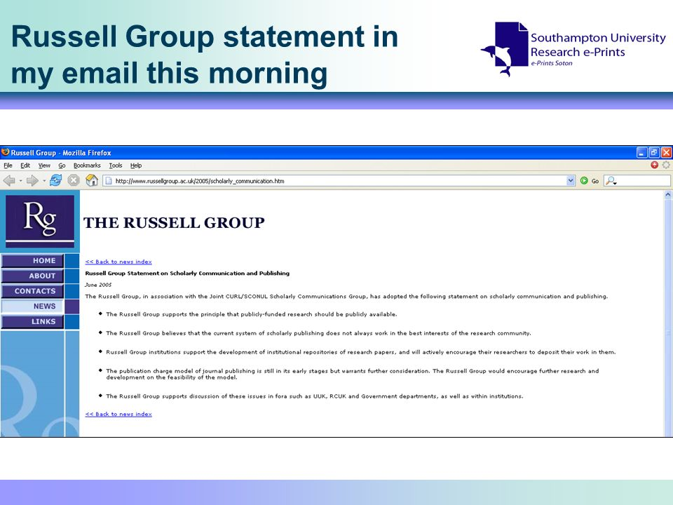 Russell Group statement in my email this morning