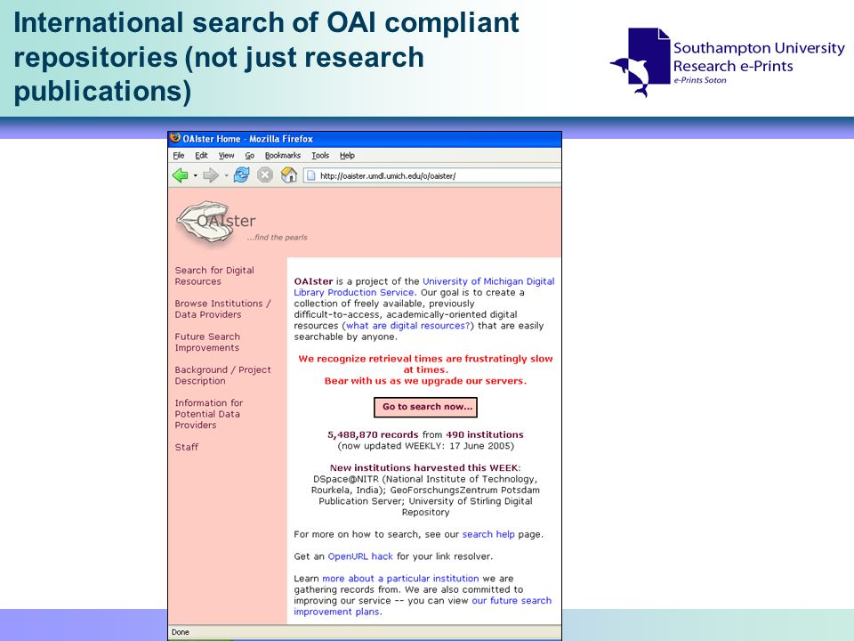International search of OAI compliant repositories (not just research publications)
