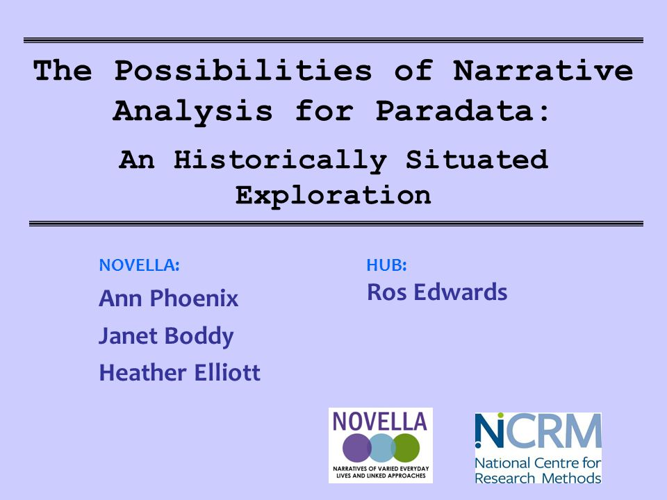 The Possibilities of Narrative Analysis for Paradata: An Historically Situated Exploration NOVELLA: Ann Phoenix Janet Boddy Heather Elliott HUB: Ros Edwards