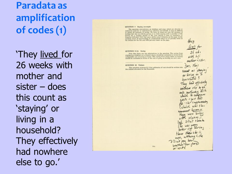 Paradata as amplification of codes (1) They lived for 26 weeks with mother and sister – does this count as staying or living in a household? They effe