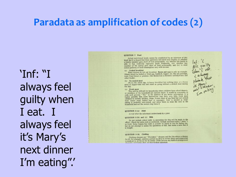 Paradata as amplification of codes (2) Inf: I always feel guilty when I eat.