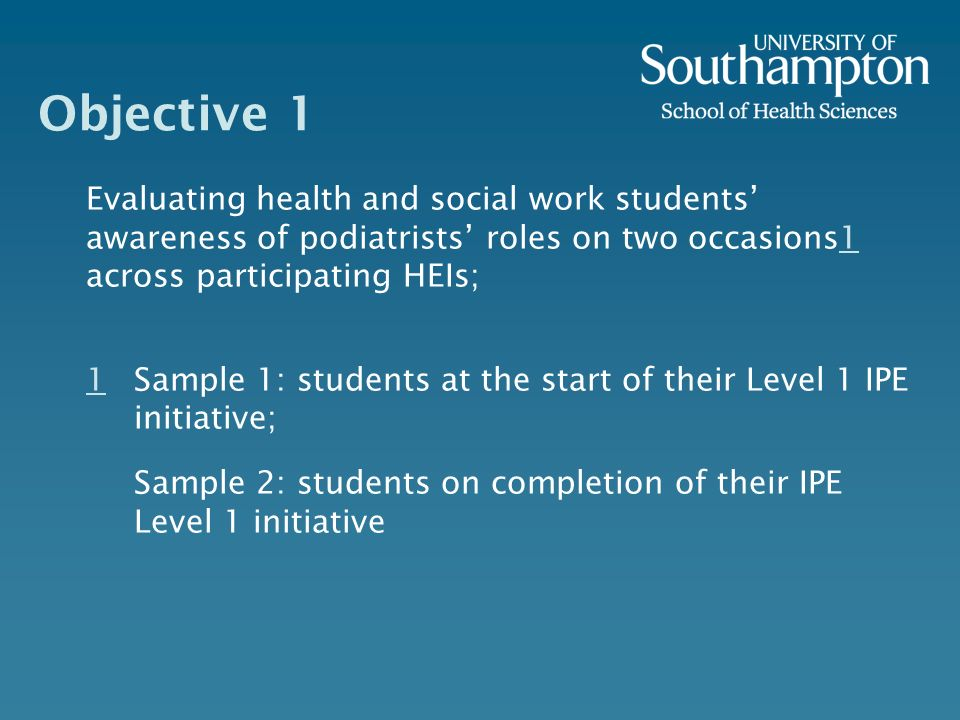Objective 1 Evaluating health and social work students awareness of podiatrists roles on two occasions1 across participating HEIs;1 1 Sample 1: students at the start of their Level 1 IPE initiative; Sample 2: students on completion of their IPE Level 1 initiative