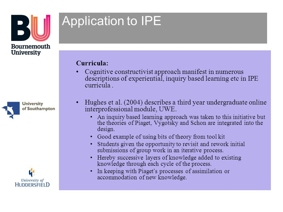 Application to IPE Curricula: Cognitive constructivist approach manifest in numerous descriptions of experiential, inquiry based learning etc in IPE c