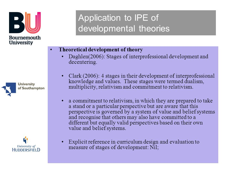 Application to IPE of developmental theories Theoretical development of theory Daghlen(2006): Stages of interprofessional development and decentering.