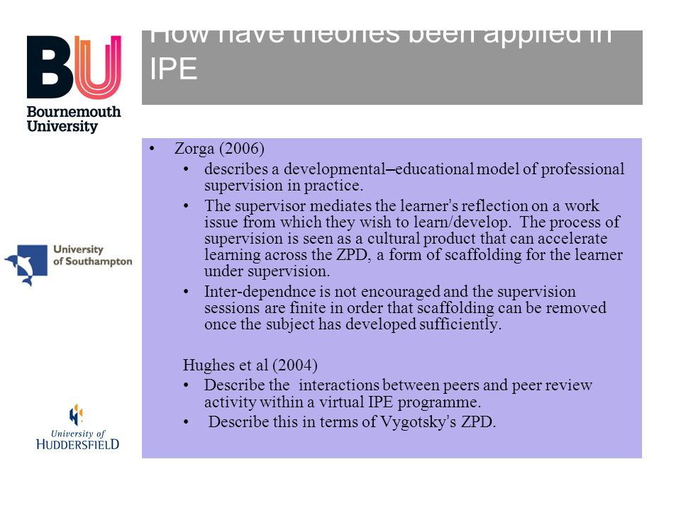How have theories been applied in IPE Zorga (2006) describes a developmental–educational model of professional supervision in practice. The supervisor