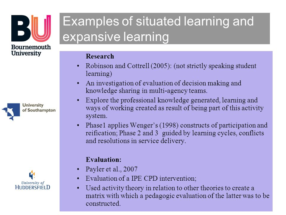 Examples of situated learning and expansive learning Research Robinson and Cottrell (2005): (not strictly speaking student learning) An investigation