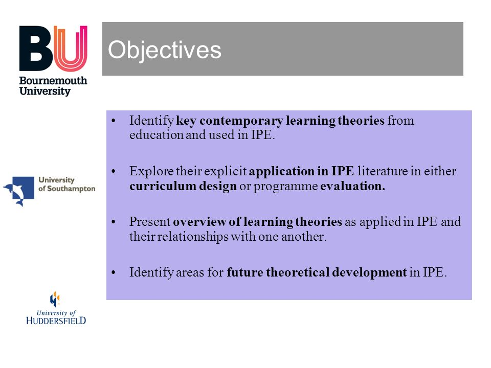 Objectives Identify key contemporary learning theories from education and used in IPE. Explore their explicit application in IPE literature in either