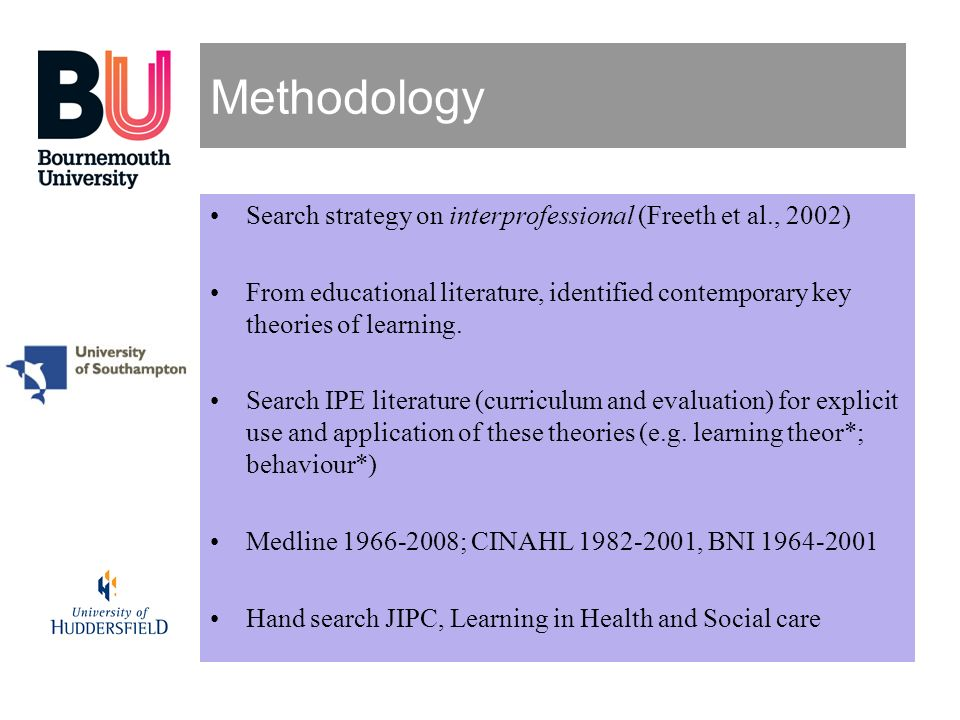 Methodology Search strategy on interprofessional (Freeth et al., 2002) From educational literature, identified contemporary key theories of learning.