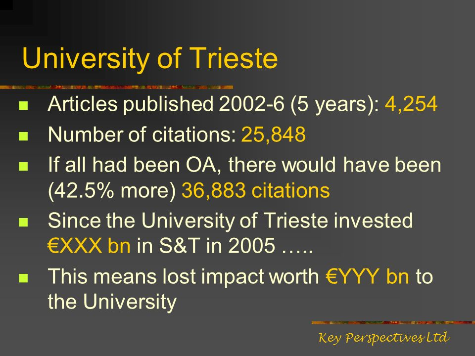 University of Trieste Articles published 2002-6 (5 years): 4,254 Number of citations: 25,848 If all had been OA, there would have been (42.5% more) 36,883 citations Since the University of Trieste invested XXX bn in S&T in 2005 …..