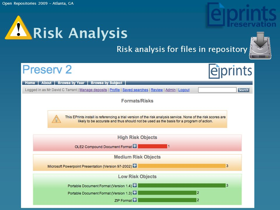 Risk Analysis Risk analysis for files in repository Open Repositories 2009 – Atlanta, GA