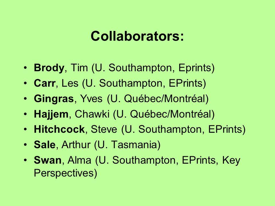 Collaborators: Brody, Tim (U. Southampton, Eprints) Carr, Les (U.