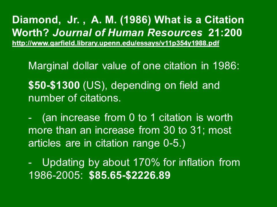 Diamond, Jr., A. M. (1986) What is a Citation Worth.