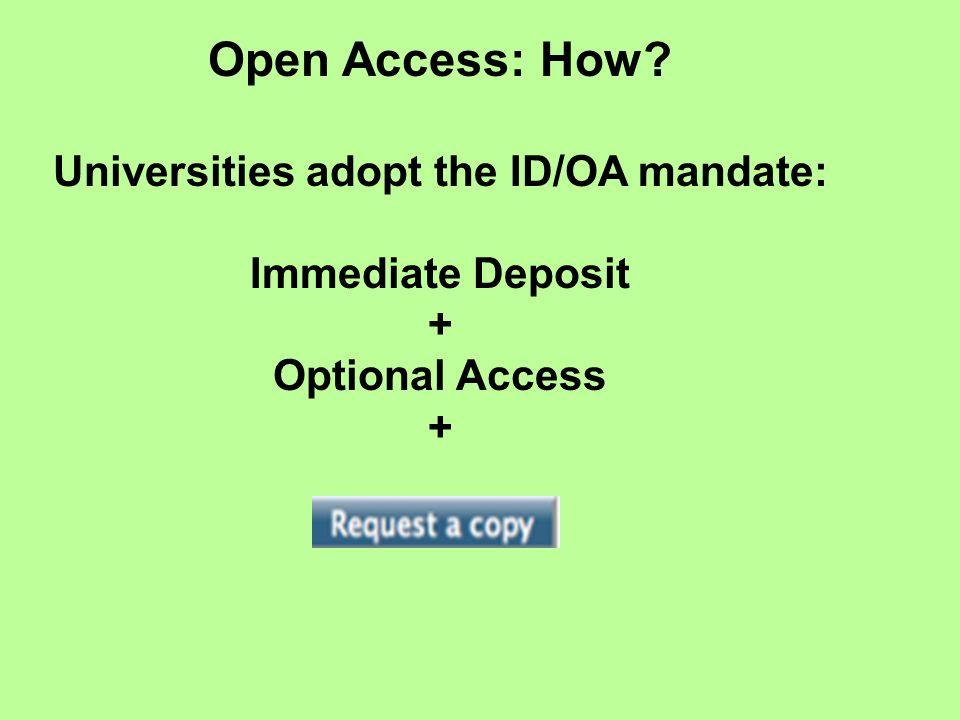 Open Access: How Universities adopt the ID/OA mandate: Immediate Deposit + Optional Access +
