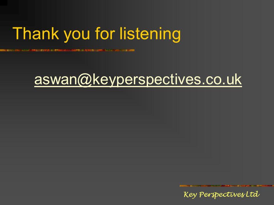 Thank you for listening aswan@keyperspectives.co.uk