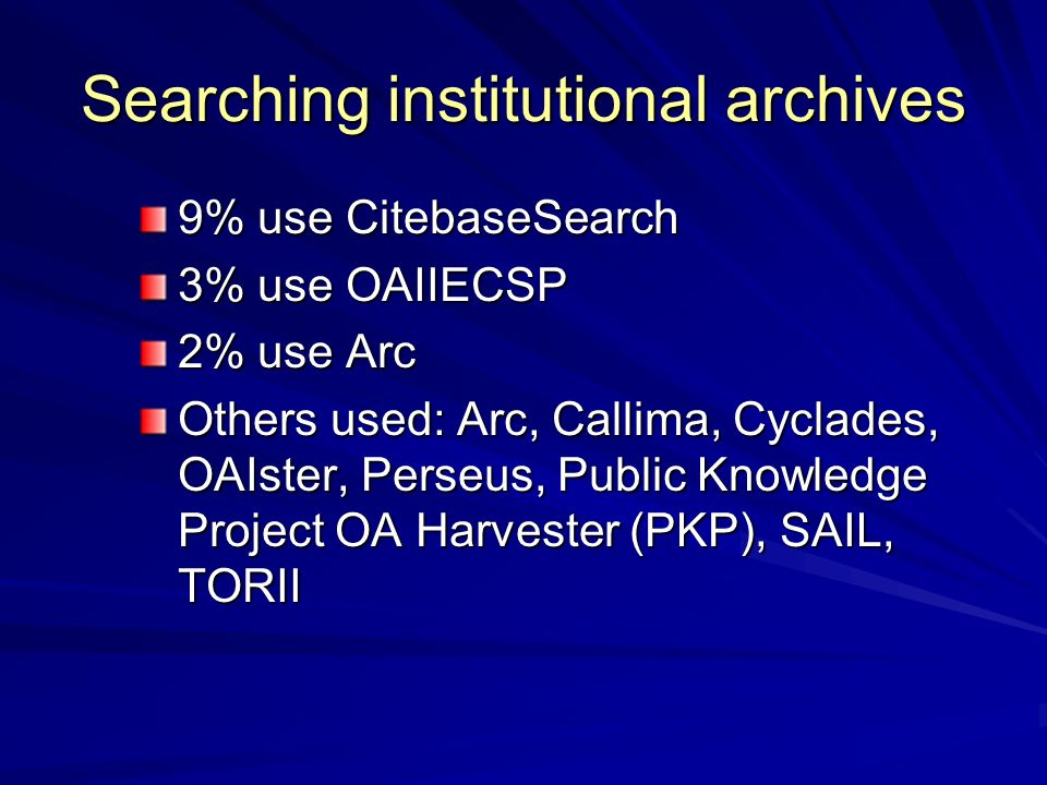 Searching institutional archives 9% use CitebaseSearch 3% use OAIIECSP 2% use Arc Others used: Arc, Callima, Cyclades, OAIster, Perseus, Public Knowledge Project OA Harvester (PKP), SAIL, TORII