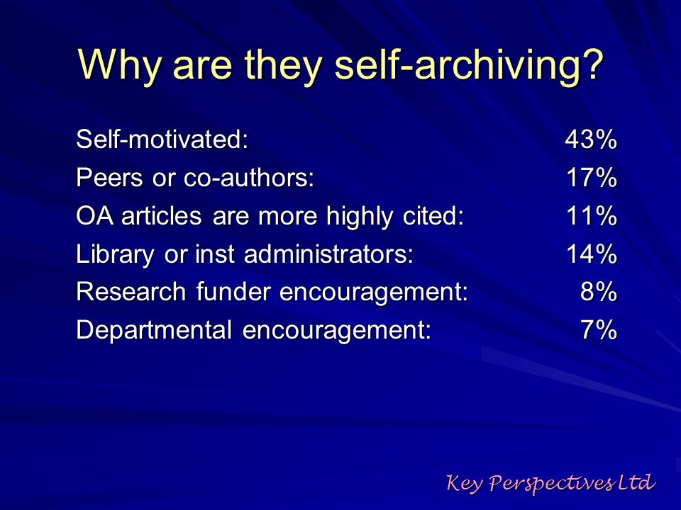 Why are they self-archiving.