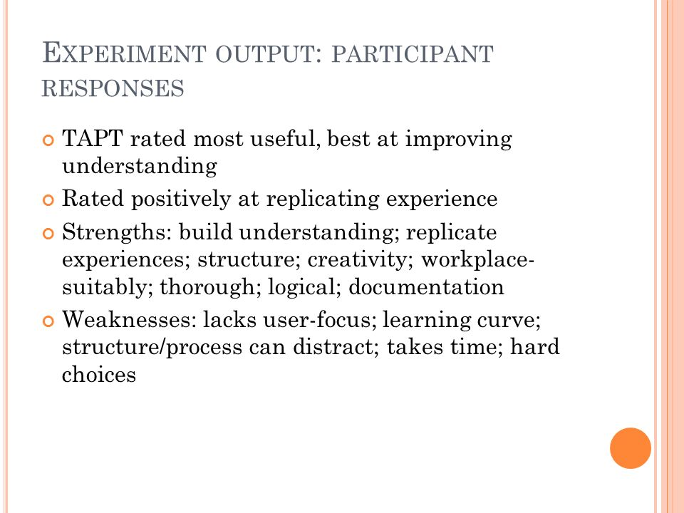 E XPERIMENT OUTPUT : PARTICIPANT RESPONSES TAPT rated most useful, best at improving understanding Rated positively at replicating experience Strengths: build understanding; replicate experiences; structure; creativity; workplace- suitably; thorough; logical; documentation Weaknesses: lacks user-focus; learning curve; structure/process can distract; takes time; hard choices