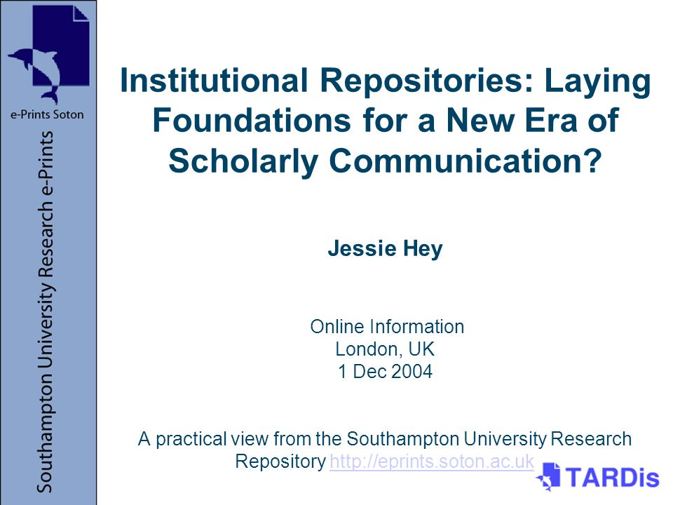 Institutional Repositories: Laying Foundations for a New Era of Scholarly Communication.