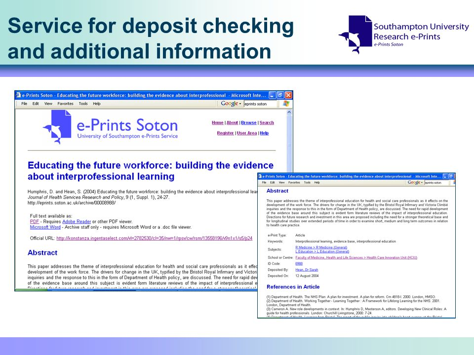 Service for deposit checking and additional information