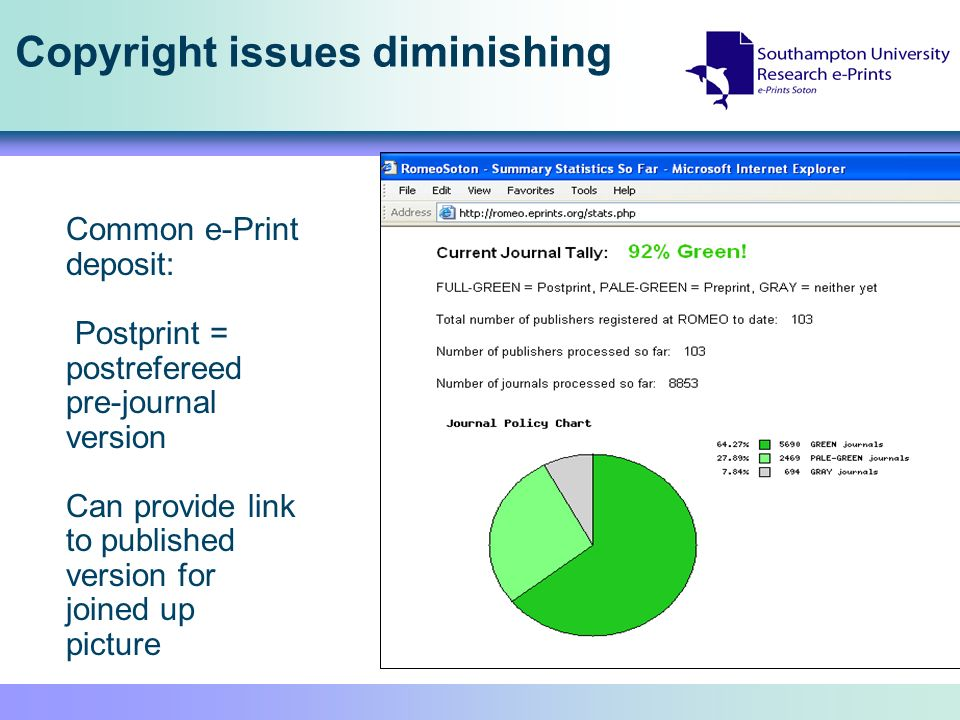 Copyright issues diminishing Common e-Print deposit: Postprint = postrefereed pre-journal version Can provide link to published version for joined up picture
