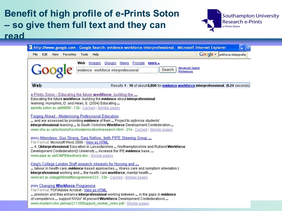Benefit of high profile of e-Prints Soton – so give them full text and they can read