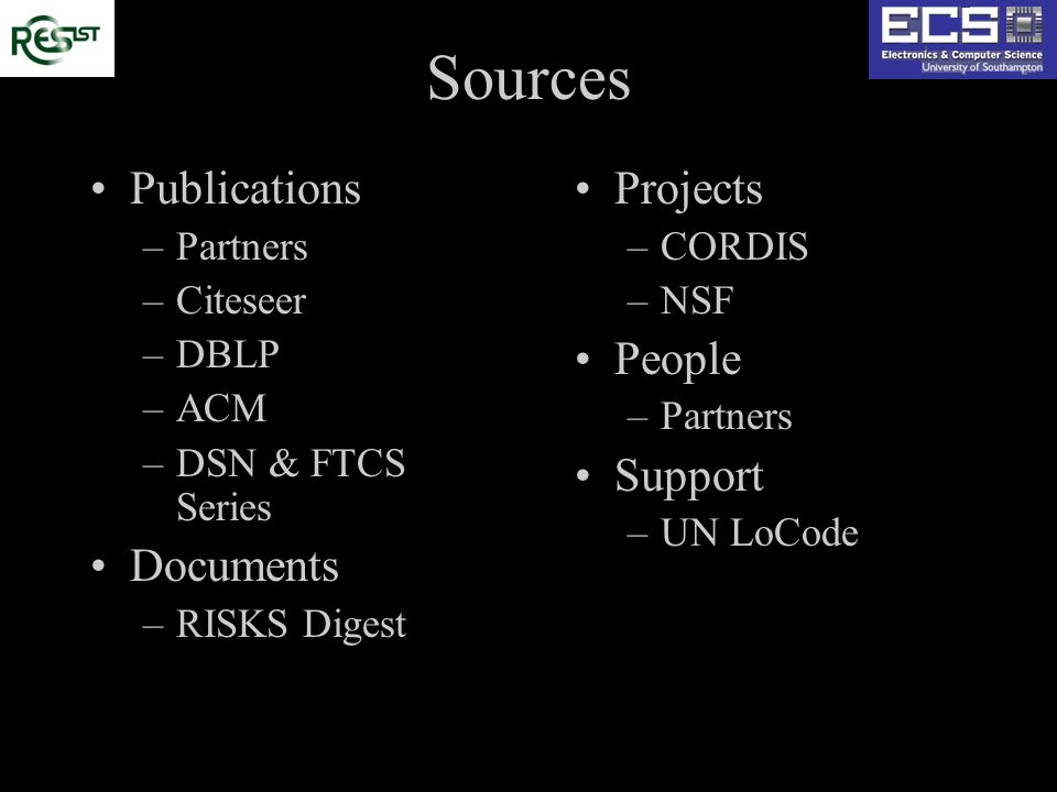 Sources Publications –Partners –Citeseer –DBLP –ACM –DSN & FTCS Series Documents –RISKS Digest Projects –CORDIS –NSF People –Partners Support –UN LoCo