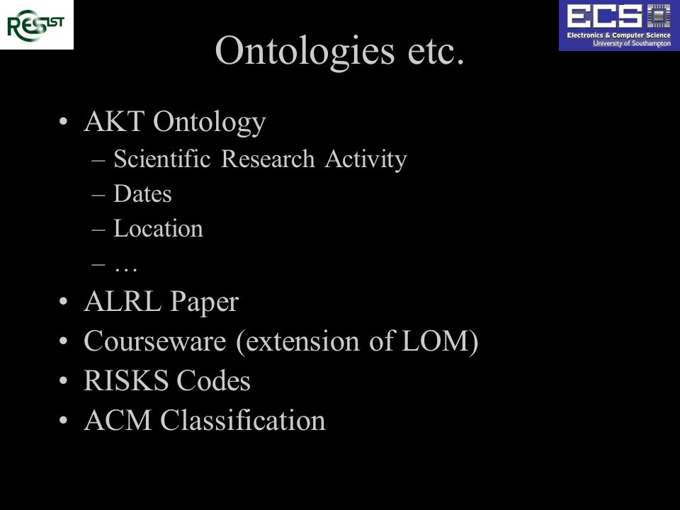 Ontologies etc. AKT Ontology –Scientific Research Activity –Dates –Location –… ALRL Paper Courseware (extension of LOM) RISKS Codes ACM Classification