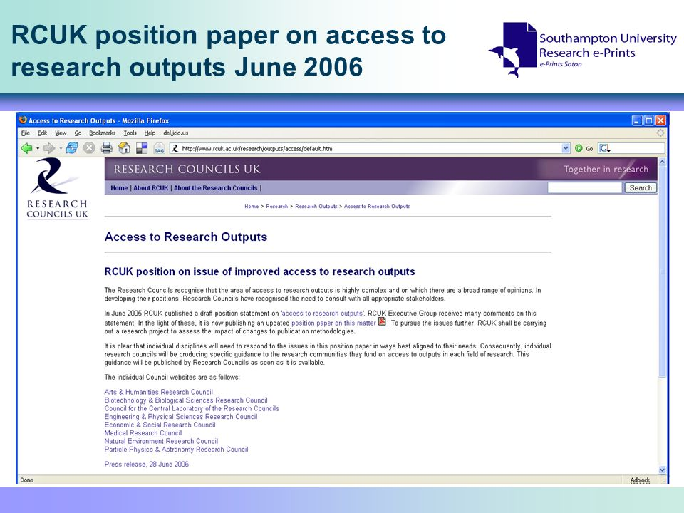 RCUK position paper on access to research outputs June 2006