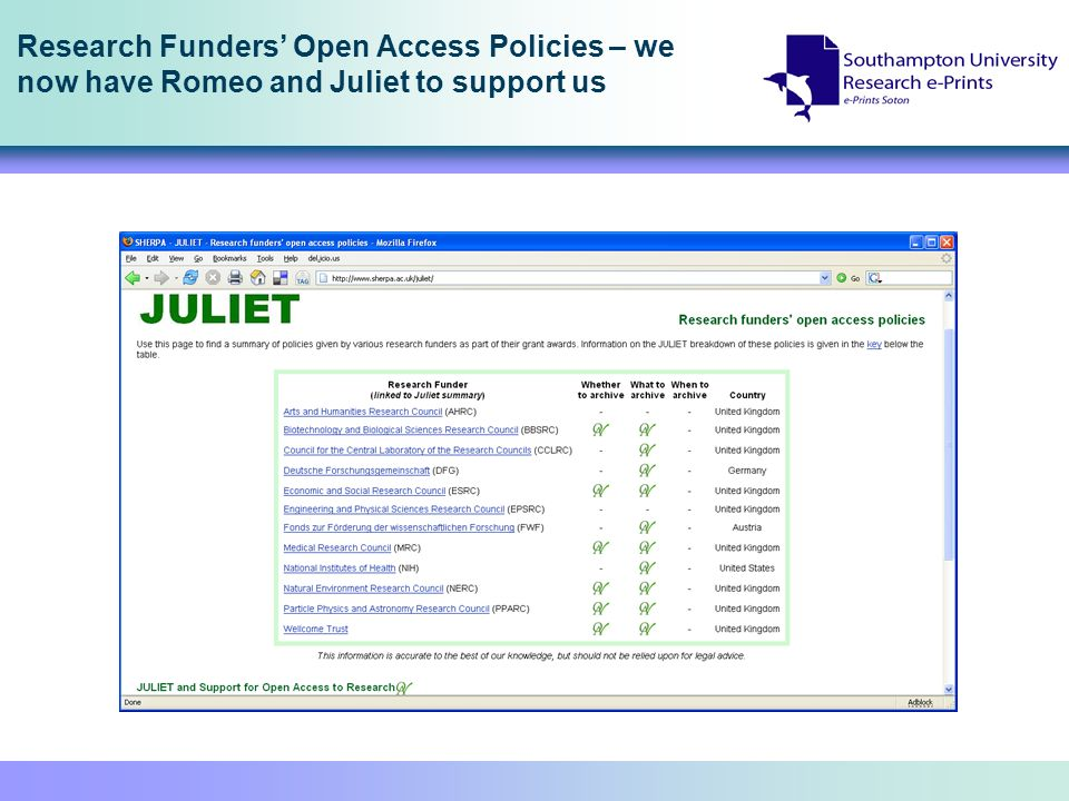 Research Funders Open Access Policies – we now have Romeo and Juliet to support us