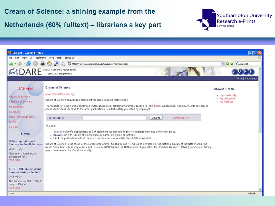 Cream of Science: a shining example from the Netherlands (60% fulltext) – librarians a key part