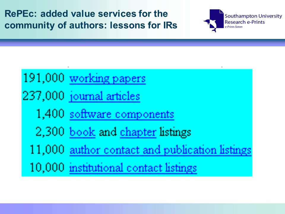 RePEc: added value services for the community of authors: lessons for IRs